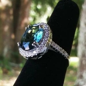 .925 Silver + London Blue Topaz Ring